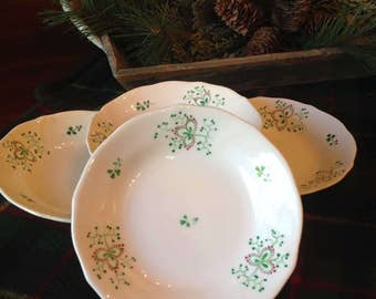 Vintage Irish Dinner Bowls Shamrock Small Dessert Bowls Irish Hand Painted Green Clover Bowls Irish Dinnerware St. Patricku0027s Day & Shamrock china | Etsy