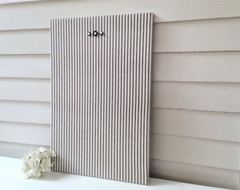Magnet Board Bulletin Board Navy White Ticking Stripe MAGNETIC Organization Bulletin Board 16 x 24 with Hardwood Construction and magnets