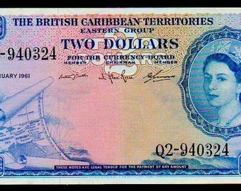 """BRITISH CARIBBEAN territories p8c 2 """"map note"""" 1964 raw xf! extremely rare!"""