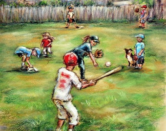 "Baseball, sports art - ORIGINAL pastel painting -  children playing ""Back Lot Baseball"" by Laurie Shanholtzer"