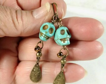 Skull Earrings, Turquoise Skull Earrings, Gothic Dangle Earrings, Bronze and Turquoise, Day of the Dead, Halloween