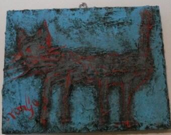 Kitt Katt Outsider Folk Art Acrylic Cat Painting signed RonGo Heavily Textured