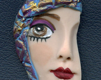 Polymer Clay Profile One of a kind Detailed and textured Face Shard PROF  1