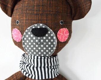 bear rag doll: Berkeley, rosey rag doll, modern, free personalization