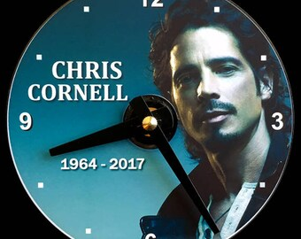 New CHRIS CORNELL Wall Clock - CD/Dvd Size! 4.75 inch diameter. Soundgarden, Audioslave. Grunge Rock Music. Singer Songwriter. Guitar Player
