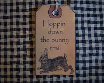Primitive Folk Art Vintage Look Craft Hang Tag Rabbit Easter Holiday Gift Tags Set of 12 Tags Pre-Strung