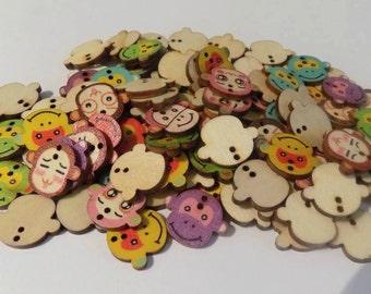 12 Wooden Monkey Buttons - #SB-00069