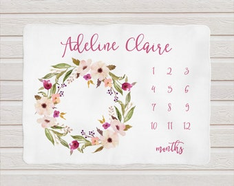Milestone Baby Blanket / Personalized Shower Gift / Floral Blanket by South + Willow Design