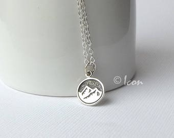 Small Silver Mountain Necklace, Mountain Range Pendant, Earth Element Necklace, Nature Jewelry outdoor gift, adventure gift Mountain Jewelry