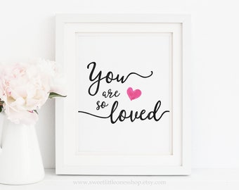 You Are So Loved Printable Wall Art You Are So Loved Print Nursery Decor Nursery Print Pink Heart Black White Nursery You Are So Loved Print