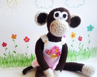 Crochet Doll Monkey - Monkey Animal Toy - Crochet Toy Monkey - Stuffed Animal Toy - Baby Shower Gift Ideas - Birthday Gift for Kids