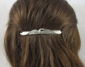 SWAN BARRETTE- Silver Barrette- slide barrette- Swan Hair Accessory- Barrettes and Clips