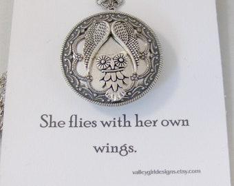 She Flies,Owl necklace,Owl Locket,Angel Necklace,Angel Locket,Silver Locket,Silver Owl,Silver,Woodland,Antique Locket,valleygirldesigns