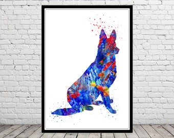 German Shepherd, watercolor art print, animal painting, home decor, watercolor painting dog, animal art, dog (1359b)