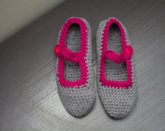 Crocheted Mary Jane Slippers
