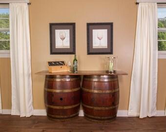1054 Double Half Barrel Bar, Wall Mount