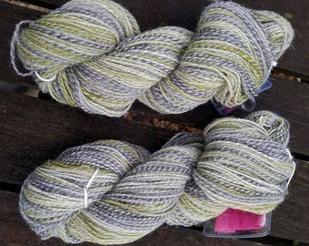 Hand Spun Yarn, DK Weight Yarn, Multi Colored Barber Poling, Cheviot Wool, 2-Ply Yarn, Green and Greys