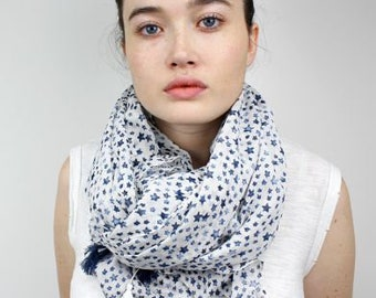 Scarf - White, Blue Little Stars Cotton Scarf, Gift For Her, 50621
