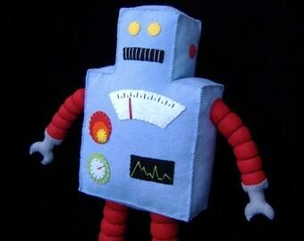 Retro Robot Plushie DIY Felt Doll PDF Pattern