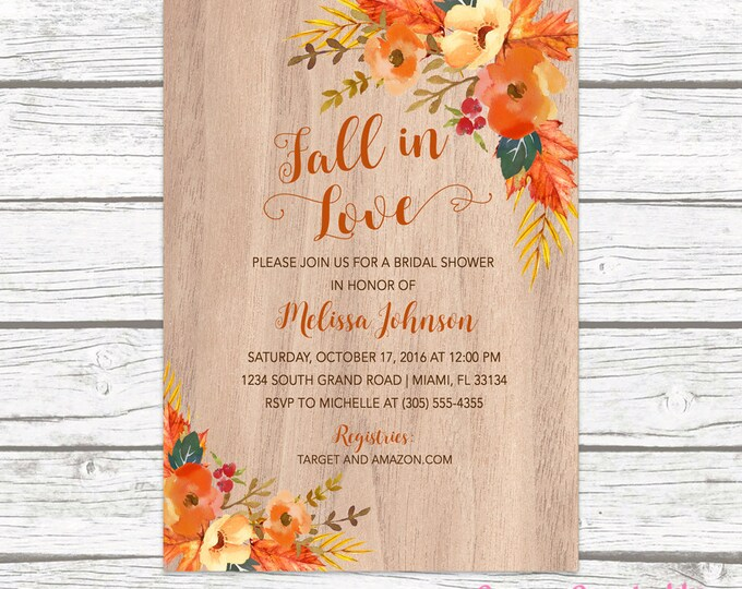 Rustic Fall Bridal Shower Invitation, Fall in Love Bridal Shower Invitation, Fall Leaves Invitation, Fall Bridal Shower Invite