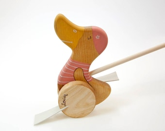 Duck Push Toy for Girls, Wooden Push Toy, Pink Wooden Toys, Wooden Kids Toy, Personalized Gift For Toddler, Wood Duck Toy,
