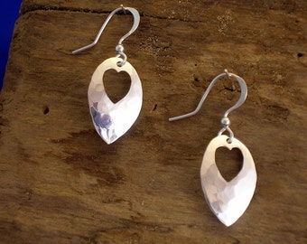 Heart Earrings,Heart Jewellery, Handmade, Sterling Silver, Hammered Silver, Hearts,  Heart Drops, Planished, Valentine Gift, Romantic Gift