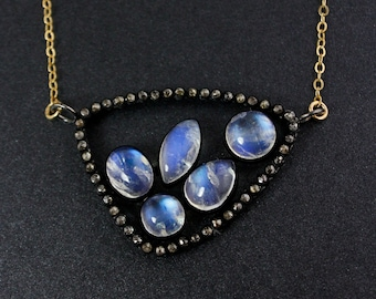 Rainbow Moonstones and Pave Diamond Necklace – Choose Your Pendant – 14K Gold Filled Chain