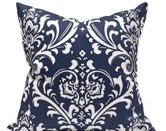 Navy Blue & White Ozborne Home Decor Throw Pillow Cover, Damask Pillow Cover Home Accent