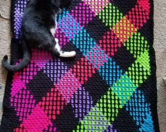 Crochet Neon Plaid Blanket