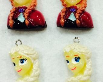 Set of 4 Frozen Pendants...Elsa and Anna Pendant