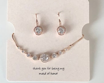 Rosegold or silver wedding bracelet and earrings, wedding jewelry, dangle earrings, bridesmaid jewelry,  Rose gold earrings