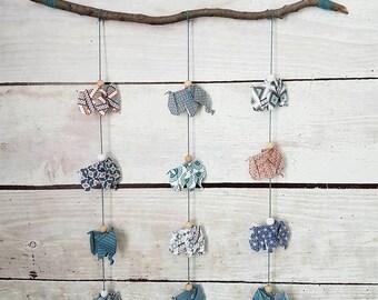"Mobile origami ""Elephant herd"""