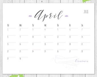 Herbs calendar, kitchen calendar, 2018 calendar, kitchen decor, printable, purple herbs calendar