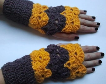 Pair of fingerless mittens crocheted bright yellow and Brown