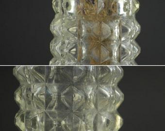 Vintage Clear Glass Vase, Diamond Point Glass Vase, Cylindrical Glass Vase Textured, Hobnail Glass Vase, Textured Glass Tube Vase Pressed