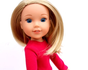 Fits like Wellie Wishers Doll Clothes - The Basic Long Sleeve Tee in Hot Pink   14.5 Inch Doll Clothes