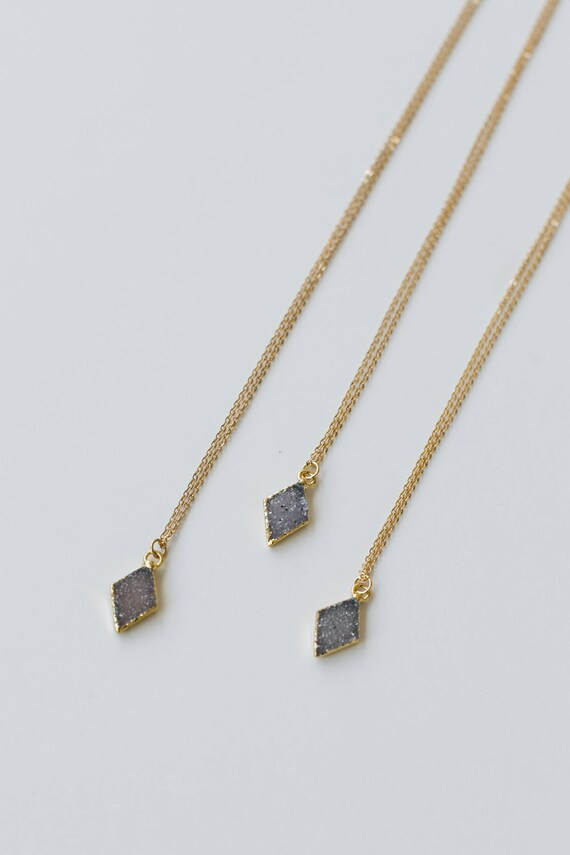 Small Druzy Diamond Necklace