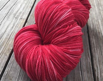 hand dyed Captain Blood Shawl Length Super Skein Superwash Merino Cashmere Nylon MCN 600 yards fingering weight red rose handdyed mcn swm