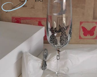 2 handpainted bridal toast glasses cats design in a gift box