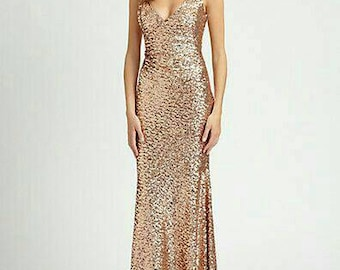 Yours and Mine Fall 2017 Long Sequin Dress, Fit & Flare, Made in the USA