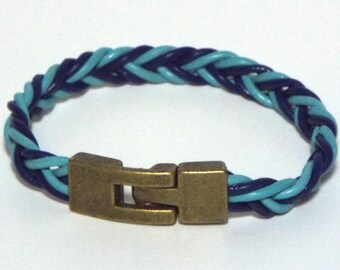 Turquoise  and Blue Braided Leather Wristband