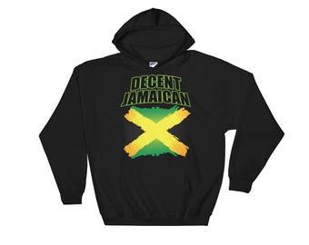 Decent Jamaican Jamaica Flag Art Hooded Sweatshirt