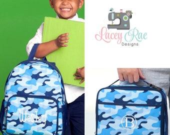 Blue Camo Toddler or preschool Backpack, Lunchbox, Blue cool camo, Preschool backpack, Church Bag, Diaper Bag,