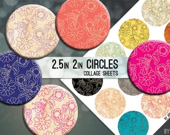 Digital Collage Sheet Flowers 2.5 Inch and 2in Circle Download Printable Images for Gift Tags Cards Scrapbooking JPG