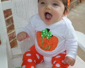 Baby Girl Pumpkin Outfit -- Pretty Little Pumpkin -- bodysuit, leg warmers and Over The Top bow