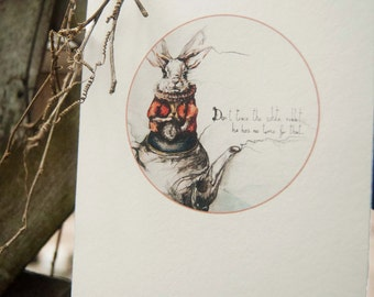 Alice in Wonderland Postcard - Printable Art - Animal print - Decor