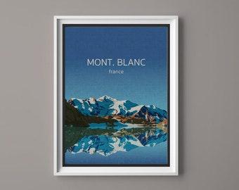 Mont. Blanc, France, Illustration, Digital Download Printable, Image For Wall Decoration, Prints