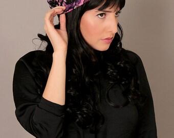 Winter sale 20% off - Black Barrett hat - Modest Hair Barrett - Floral hat  - Full cover Headcoverings