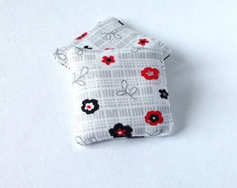 Floral mini pillows 1:12 scale, Gray, red and black dollhouse miniature cushions, set of two throw pillow, modern dollhouse ma25