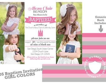 LDS Baptism Invitation - Girl Baptism - Custom LDS Baptism Photo Announcement/Invitation